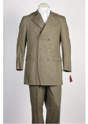 ID#NM482 Mens 6 Button Double Breasted Dark Olive Suit