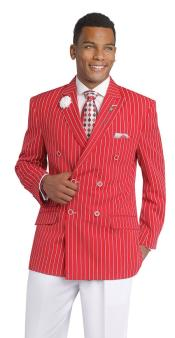 Breasted Pinstripe Blazer Red