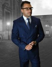 ID#DB23094 Sapphire Button Closure Double Breasted Plaid Pattern Suit