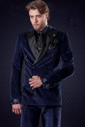 ID#DB18214 Double Breasted Royal Blue Black Lapel Tuxedo Looking wool Fabric Velvet Peak Lapel Suit