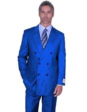 ID#DB22818 Double Breasted Royal Blue Suit Side Vented