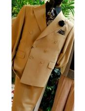 ID#DB23399 Button Closure Classic Double Breasted Tan Suit