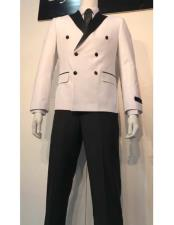 ID#VJ15496 Double Breasted All White And Black Lapel Prom ~ Wedding Groomsmen Tuxedo Looking Wedding Suit For Groom For Sale
