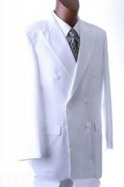 ID#EmilC762 2pc SHARP Double Breasted DRESS SUIT Snow Basic Solid Plain White Best Inexpensive - Cheap - Discounted Blazer - Suit Jacket For Affordable Cheap Priced Unique Fancy For Men Available Big Sizes on sale Men Affordable Sport Coats Sale