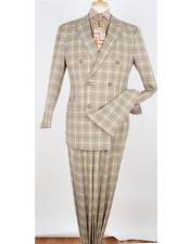 ID#DB20393 Double Breasted Windowpane Vested 3 piece Side Vents Suits