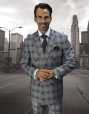 ID#DB23096 Double Breasted Button Closure Plaid Pattern Wool Burgundy Suit