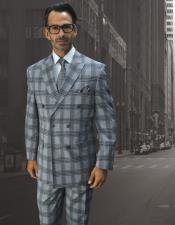 ID#DB23097 Double Breasted Button Closure Plaid Pattern Wool Sapphire Suit