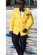 ID#DB20687 Double Breasted Yellow Buttons Closure Suit