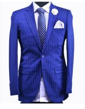 men's Cobalt Blue Tuxedo Double Vents  Royal ~ Bright Blue Indigo ~ Cobalt New Light Blue Perfect for wedding 1 Button Stripe Suit