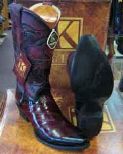 ID#SM172 King Exotic Genuine Eel Skin Snip Toe western By Los altos boots - Botas Altos EE+ Burgundy