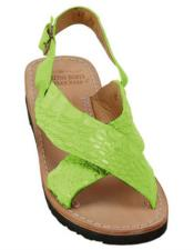 ID#DB18761 Exotic Skin Electric-Lime Sandals in ostrich or Alligator or Stingray skin