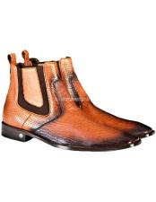 Cognac Genuine Sharkskin Chelsea