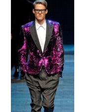 ID#DB23344 Shiny Sequin Glitter Black Blazer Fashion Pink Sportcoat
