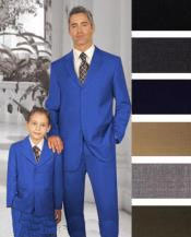 ID#PN-17 1 + 1 Boy Matching Combo For Both Father And Son 2 or Three buttons option Wool fabric Suit Royal Blue