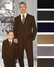 ID#PN-21 1 + 1 Boy Matching Combo For Both Father And Son 2 or Three buttons option Wool fabric kids suits available in little boys 3 three piece suit Dark Coco Chocolate brown