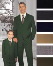 ID#PN-27 1 + 1 Boy Matching Combo For Both Father And Son 2 or Three buttons option Wool fabric kids suits available in little boys 3 three piece suit Dark Charcoal Masculine color Grey