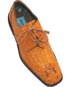 ID#MK353 Ferrini F228 Hornback Gator skin Derby Cheap Priced Exotic Skin Shoes For Sale For Men Camel