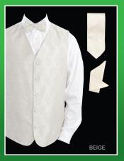 ID#MVV7 4 Piece Groomsmen Wedding Vest For Groom and GroomsmenCombo (Bow Groomsmen Ties, Hanky) - Paisley Jacquard Beige