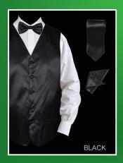 ID#HSA01 4 Piece Groomsmen Wedding Vest ~ Waistcoat ~ Waist coat For Groom and Groomsmen Combo (Bow Groomsmen Ties, Hanky) - Satin Dark color black