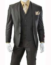 ID#VJ15905 Brown 5 Button 3 ~ Three Piece Inexpensive ~ Cheap ~ Discounted Clearance Sale Extra Slim Fit Prom 2 Button Suit