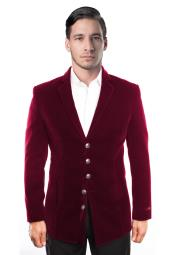 Button Single Breasted Burgundy