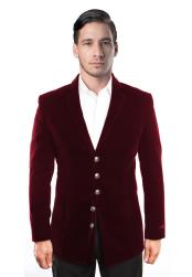 5 Button Dark Burgundy Velvet  men's Blazer Jacket Affordable Cheap