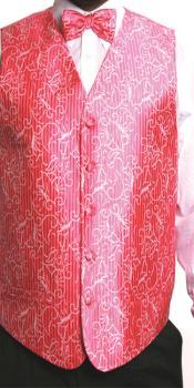 ID#HHS3 4 Piece JQD Groomsmen Wedding Vest ~ Waistcoat ~ Waist coat For Groom and Groomsmen Combo (Bow Groomsmen Ties, Hanky) fuchsia ~ hot Pink