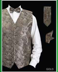 ID#KJG2 4 Piece Groomsmen Wedding Vest ~ Waistcoat ~ Waist coat For Groom and Groomsmen Combo (Bow Groomsmen Ties, Hanky) - Paisley Design Gold
