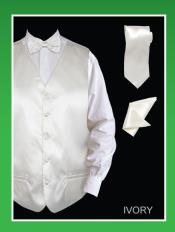 ID#IVM9 4 Piece Groomsmen Wedding Vest ~ Waistcoat ~ Waist coat For Groom and Groomsmen Combo (Bow Groomsmen Ties, Hanky) - Satin Ivory