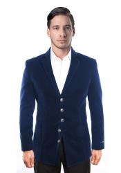 ID#DB20136 Navy Blue 5 Button Notch Lapel Velvet Single Breasted Best Cheap Blazer For Men Jacket Affordable Sport Coats Sale