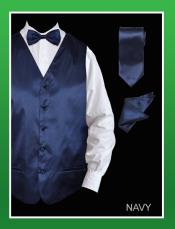 ID#LPA99 4 Piece Groomsmen Wedding Vest For Groom and Groomsmen Combo (Bow Groomsmen Ties, Hanky) - Satin Navy