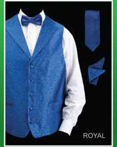 ID#KLO93 4 Piece Groomsmen Wedding Vest For Groom and Groomsmen Combo (Bow Groomsmen Ties,Hanky) - Lapelled Vest Royal Light Blue Perfect for wedding