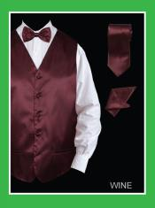 ID#WNE655 4 Piece Groomsmen Wedding Vest For Groom and Groomsmen Combo (Bow Tie, Neck Tie, Hanky) - Satin Wine
