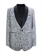 ID#DB24649 1 Button Floral ~ Flower Design Shawl Lapel White Sport Coat Blazer ~ Suit Jacket