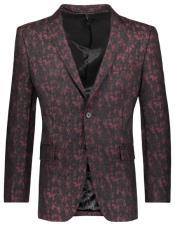 Floral ~ Flower Pattern Slim Fit 2 Button  Burgundy Best Cheap Blazer For Affordable Cheap Priced Unique Fancy For Men Available Big Sizes on sale Men Affordable Sport Coats Sale