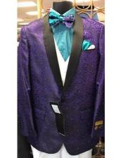 ID#SP24994 Purple Floral Pattern Shawl Lapel Cheap Fashion  Big and Tall Large Man ~ Plus Size