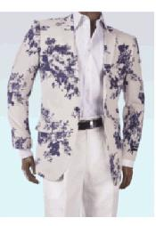 Floral Pattern White Blue