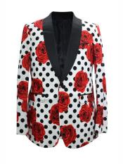 ID#SP24966  Cheap Fashion Floral ~ Dot Pattern Big and Tall Large Man ~ Plus Size Plus Size Sport Coats One Button