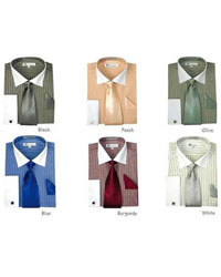 ID#PN90 French Cuff Stylish Striped Formal Spread Collar Dress Cheap Fashion Clearance Shirt Sale Online For Men Combo Style Multi-Color