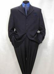 ID#MUA64 4-Button Dark navy blue colored Superior fabric Pleated creased Pants Suit non back vent coat style coat