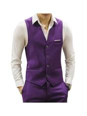 Purple 4 Button Casual Suit Groomsmen - men's Vest ~ Waistcoat ~ Waist coat & Pants Set Package Combo ~ Combination
