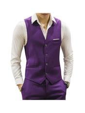 ID#DB24745 Purple 4 Button Causal Suit Groomsmen Vest ~ Waistcoat ~ Waist coat & Pants Set Package Combo ~ Combination