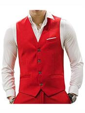 Button Red Casual Suit
