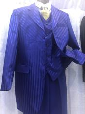 Button Royal Blue Pinstripe