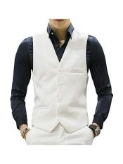 ID#DB24742 4 Button Causal White Suit Groomsmen Vest & Pants Set Package