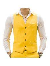 ID#DB24739 Yellow 4 Button Causal Suit Groomsmen Vest & Pants Set Package