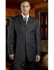 ID#NM1276 Mens Stripe 4 Buttons ~ Black Pinstripe Super 150's Wool Pleated Pants Notch Lapel Suit
