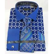 Men's French Cuff With Collar Interlocking Ring Blue Cotton Dress Cheap Fashion Clearance Shirt Sale Online For Men