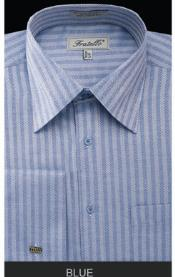 Fratello French Cuff Blue Dress 18 19 20 21 22 Inch Neck Inexpensive ~ Cheap ~ Discounted Fashion Clearance Shirt Sale Online For Men - Herringbone Tweed Stripe Big and Tall  Large Man ~ Plus Size Sizes