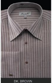 Fratello French Cuff Dark Coco Chocolate brown Dress 18 19 20 21 22 Inch Neck Inexpensive ~ Cheap ~ Discounted Fashion Clearance Shirt Sale Online For Men - Herringbone Tweed Stripe Big and Tall  Large Man ~ Plus Size Suits Sizes